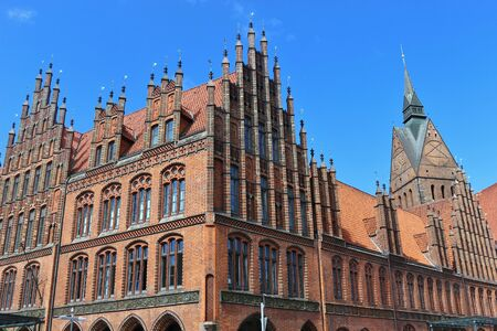 Market church and old town hall in gothic style in Hanover, North Germany. The Evangelical Lutheran Church St. Georgii et Jacobi is a landmark of the city. Stock Photo
