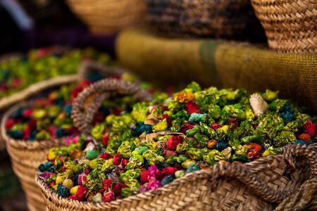 medina: dry flowers in the market of Medina, Marrakech