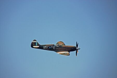 A Supermarine Spitfire fighter aircraft type PR.XIX in action during an air show
