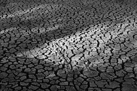 occur: Cracked soil. There is a little bit of grass occur. Stock Photo