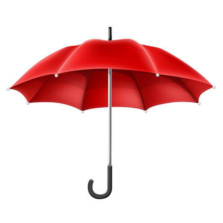 Realistic red umbrella from front view. Vector illustration for rainy season, spring and autumn, isolated on white