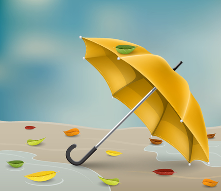 Realistic yellow umbrella on ground in water puddle, with fallen leaf and rainy sky background.