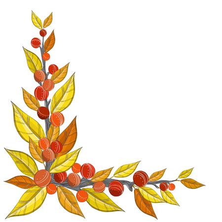 Autumn corner decoration with yellow and orange leaf and berry.  Vector illustration for autumn and fall season.