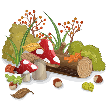 Poisonous red mushrooms with wood log, fallen leaf, berry and bush.