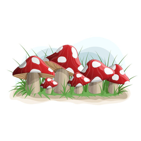 Poisonous red mushrooms in grass.