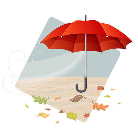 Red umbrella in autumn frame with fallen leaf. Ilustrace