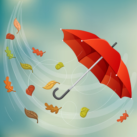 Red umbrella flying in wind with fallen leaf, and rainy sky background. Ilustrace