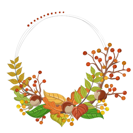 Autumn frame in circle with branch, berry, leaf, and other plants.