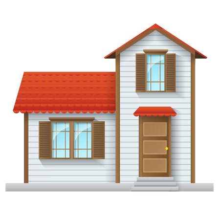 White family house with red roof. Vector illustration, with realistic shading, isolated on white Illustration