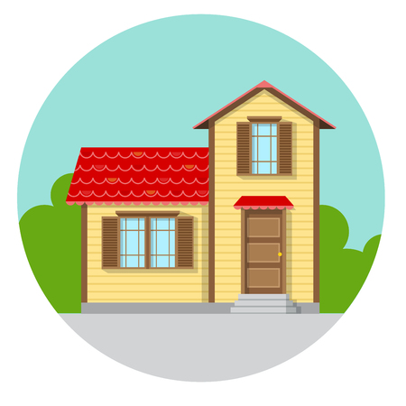 Flat family house icon in circle. Simple vector illustration for home and estate design