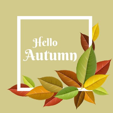 Autumn leaf frame with colorful leaf set