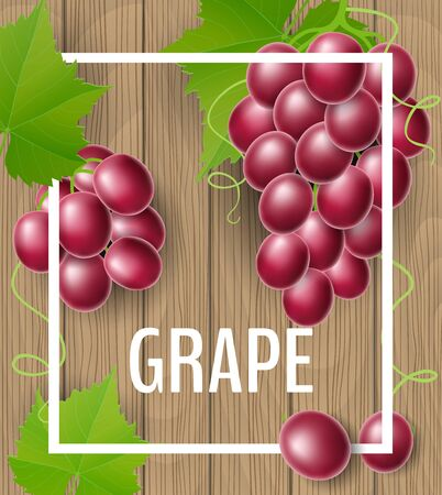 Grape frame on brown wood texture with green leaf and tendril