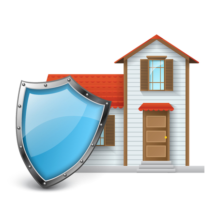 White house with red roof protected with blue metallic shield. Realistic vector illustration for home protection and security, isolated on white Ilustrace