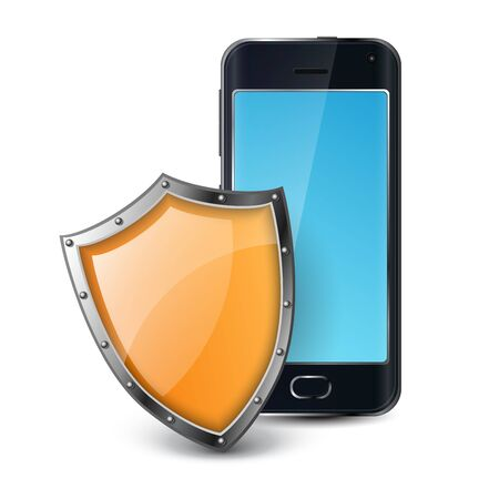 Black smartphone protected with orange metallic shield. Realistic vector illustration for data protection and phone security, isolated on white