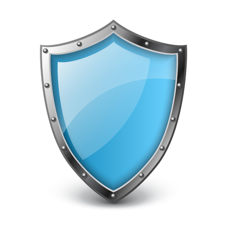 Realistic blue metallic shield with reflection. Vector illustration for protection, security and safety, isolated on white Ilustrace