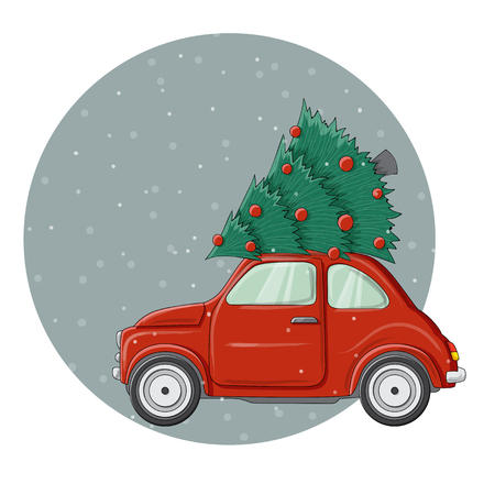 Little red bug car illustration with decorated Christmas pine tree on top, in circle. illustration for December holiday season, greetings and invitations for Christmas, isolated on white Ilustrace