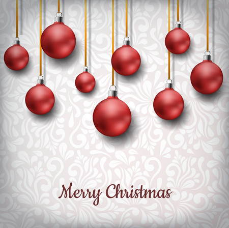 Red Christmas balls hanged on golden ribbon, in front of floral pattern decoration background. Realistic vector illustration for Christmas and December holiday season, for messages and invitations Ilustrace