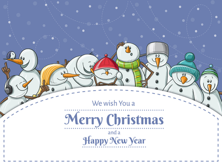 Christmas frame with funny snowman character set illustration. Frame for messages and invitations, vector illustration for Christmas, December holiday and New Year, snowfall in background