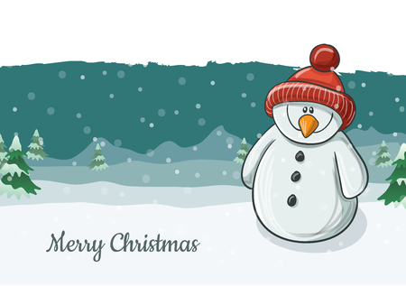Cute snowman character illustration smiling with red knitted hat. Snowfall and winter landscape in background, vector illustration for Christmas and December holiday season Ilustrace