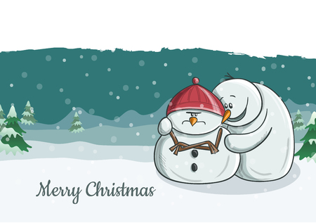 Cute snowman character illustration one trying to cheer his grumpy friend. Snowfall and winter landscape in background, vector illustration for Christmas and December holiday season