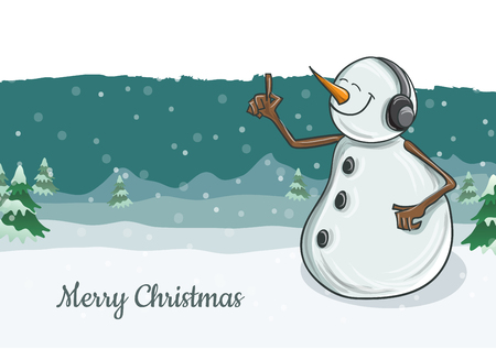 Cute snowman character illustration with headphones, listening to music. Snowfall and winter landscape in background, vector illustration for Christmas and December holiday season