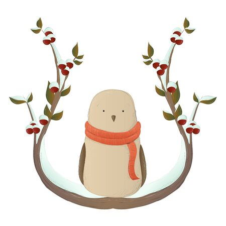 Cute bird illustration on snowy winter branch with berry and leaf. Vector illustration for holidays, isolated on white background.
