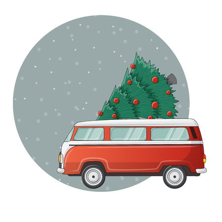 Red camper car illustration with Christmas pine tree on top, in snowfall. Cute illustration for Christmas  and December holiday season, in circle. Ilustrace