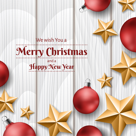 Red Christmas balls and golden stars on white wood texture background, frame for Christmas messages and invitation. Realistic vector illustration for December holiday season and New Year Ilustrace