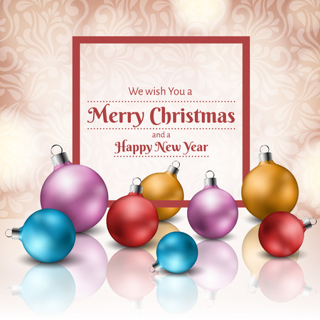 Christmas colorful ball set with red frame for holiday messages. Realistic vector illustration for Christmas and New Year design.