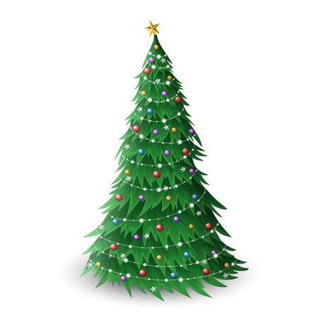 Christmas pine tree illustration with colorful balls and star decoration, and small lights. Vector illustration of pine tree, for December holiday season, isolated on white background
