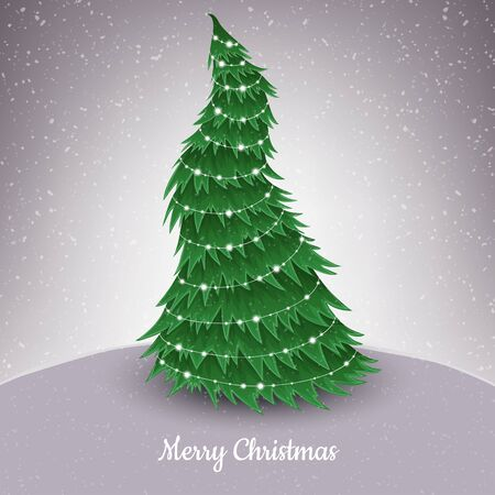 Christmas tree illustration in snowfall, with small light decoration. Curved pine tree, funny style, vector illustration for December holiday season Ilustrace