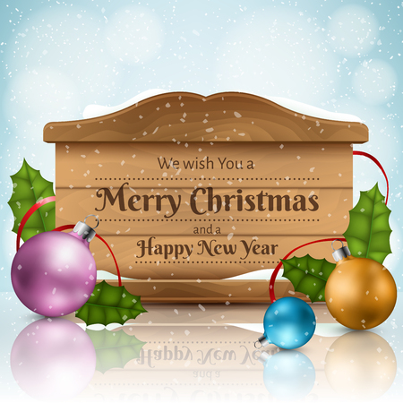 Realistic wooden texture frame for Christmas message with colorful balls, holly leaf and snowfall in background. Vector illustration for December holiday season and New Year