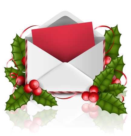 Realistic open envelope with red letter paper, with holly plant leaf, red berry and red ribbon. Vector illustration for Christmas and December holiday season, isolated on white. Ilustrace