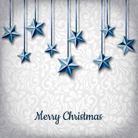 Realistic blue star decoration for Christmas holiday. Realistic stars hanged with blue ribbon, floral pattern on background. Vector illustration for December.