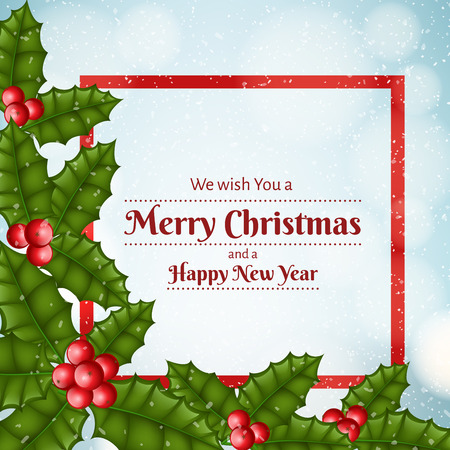 Christmas festive frame with realistic holly leaf and red berry. Red frame for text, snowfall in background. Vector illustration for December holiday, Christmas and New Year