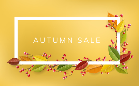 Autumn frame with colorfull fall leaves, red berry and branch, on yellow background. Horizontal vector banner illustration for autumn sale, and other fall season design