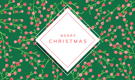 Christmas horizontal banner with square paper frame, and red berry pattern in background. Frame for winter, Christmas or other nature or holiday related event or design Ilustrace