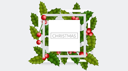 Christmas frame with holly berry and leaf, on horizontal banner background. Simple, elegant frame design for Christmas, or other winter holiday, event or celebration Ilustrace
