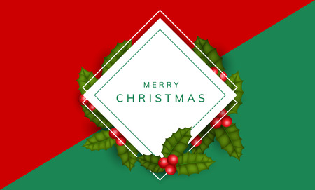 Christmas frame with square paper frame and holly leaf and berry. Simple, elegant frame design for Christmas or other winter holiday celebration or event, with red and green background