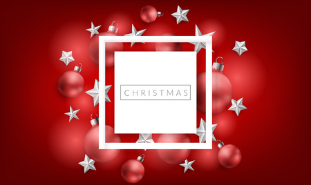 Horizontal banner with white square frame on red background with red Christmas balls and white stars. Elegant design for christmas and other winter holiday and celebration design