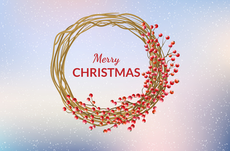 Round branch frame with red berries, with pastel color sky background in snowfall. Horizontal banner for Christmas and winter holiday and celebration design