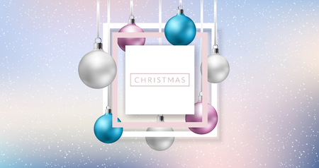 Horizontal banner for Christmas with pastel colors, hanged Christmas balls in snowfall. Frame design for winter holiday, Christmas, New year or other event and celebration