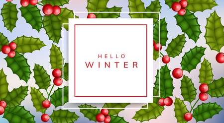 Horizontal banner with square paper frame and holly plant pattern background. Elegant frame with red berry and green leaf for Christmas and other winter holiday and celebration Ilustrace