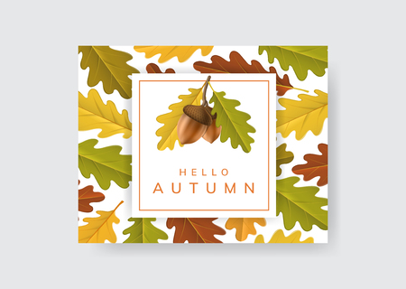 Autumn frame with acorn and oak leaf. Vector illustration on geometric frame with fall colors and leaf texture background 일러스트