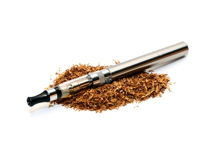 isolated e-cigarette with two evaporators and tobacco photo