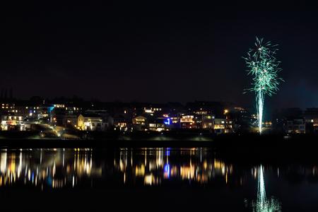 jahreswechsel: Phoenix Lake with fireworks
