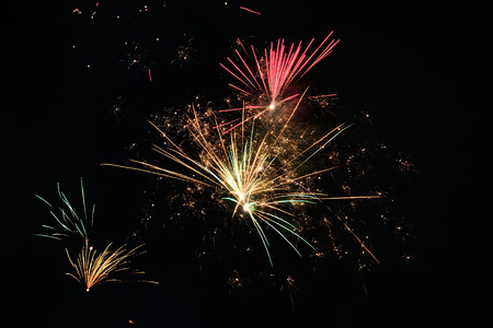 jahreswechsel: night sky with fireworks Stock Photo