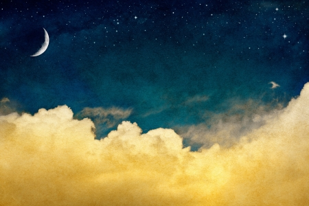 A fantasy cloudscape with stars and a crescent moon overlaid with a vintage, textured watercolor paper background. photo