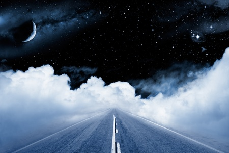 crescent: An empty road leading off into a surrealistic setting in outer space with stars and a crescent moon. Stock Photo