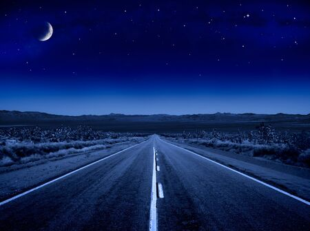 noche y luna: Un camino desierto de noche conduciendo hacia el infinito.